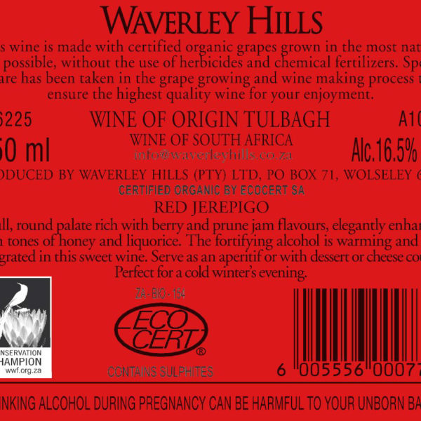Red Jerepigo Non-Vintage Back Label